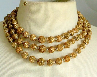 Vintage Necklace Multi Strand Gold Glitter Beads 1950s