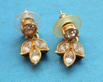 AVON Earrings Dangle Gold Tone Rhinestone Leaf Signed Vintage