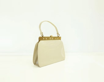 Off White Handbag 60s Top Handle Purse Patent Vinyl Bag 60s White Handbag Natural White Bag 60s Off White Purse
