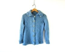 Vintage blue cardigan sweater Fisherman's sweater cable knit button up Preppy Sweater Small