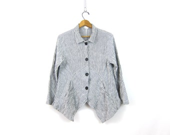 Minimal Button Up Shirt Cotton Linen Striped Gray and White Top Hobo Shirt Button Down asymmetrical Minimalist Shirt Women's size small