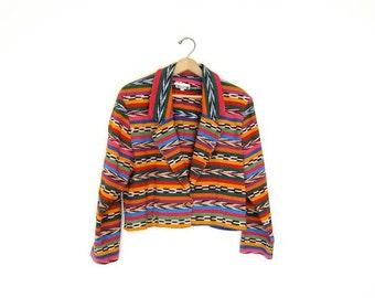 Tribal Cropped Jacket Colorful Bohemian Guatemalan Coat Southwestern Blazer Boho Crop Top Woven Cotton Ethnic Fall Jacket Medium large