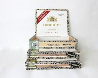 Vintage wooden Cigar Boxes / set of 3