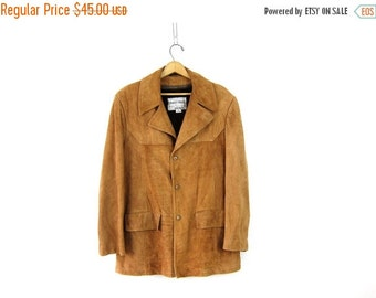 Mens Leather Jacket Coat 70s Vintage Hipster Silk Nap Suede Grais Dress Coat Blazer tan Brown Lined dress coat Size 40