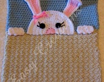 PDF CROCHET PATTERN Peek-a-Bunny, Bunny Pajama Pillow, boy Pj bag, girl Pj pillow, animal Pj pillow, pet Pj pillow, bed Pj pillow
