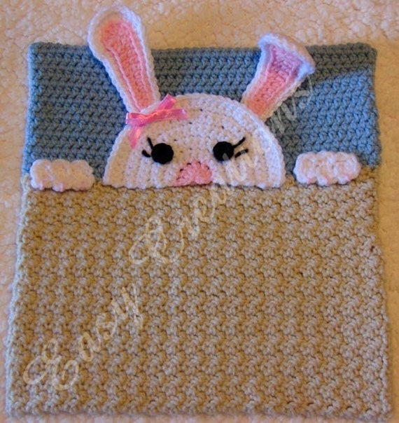 PDF CROCHET PATTERN Peek-a-Bunny Bunny Pajama Pillow boy Pj