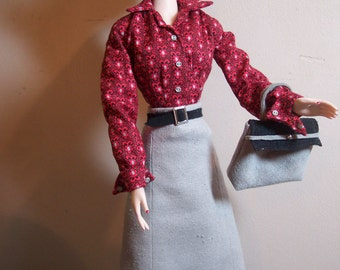 Gene - Softly Tailored Afternoon Outfit in Red, Grey and Black, Plus Accessories