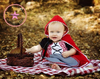 Storybook Character Little Red Riding Hood Costume Dress for babies includes cape sizes 0-3 mos to 2t Halloween