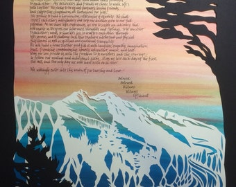 Soft Sunset over the Cascade Mountains - with Tree Silhouettes - papercut ketubah with calligraphy
