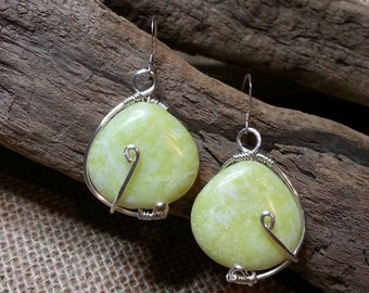 Peridot Jasper wire wrapped Earrings sterling silver ear wires e23