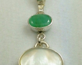 Brazilian Emerald, Mother of Pearl, Sterling silver Pendant, Formal pendant, girls pendant, made in the USA, Ready to ship