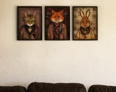 Set of 3 Art Prints - Posters - Portrait of The Mysterious Lord Fox - Sir Harold and Uncle Jean