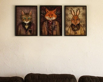 Set of 3 Art Prints - Posters - Fox - cat - Rabbit - Portrait of The Mysterious Lord Fox - Sir Harold and Uncle Jean