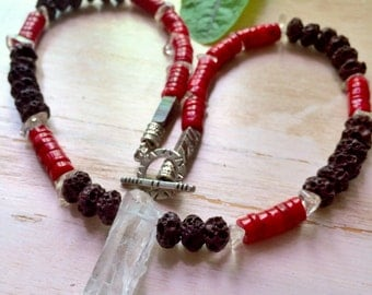 Fire , Earth and Space  Necklace / Lava , Coral Bamboo and Crystal Point / Bring Your Passions to Life / Unisex