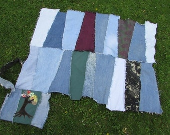 recycled denim patchwork festival picnic event blanket with Scrappy Tree applique bag Custom Made to Order