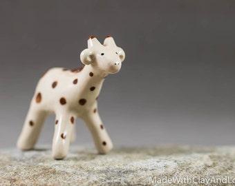Pottery Giraffe - Miniature Ceramic Porcelain Clay Animal Sculpture Decorative Home Decor Ornament - Terrarium Figure Hand Sculpted OOAK