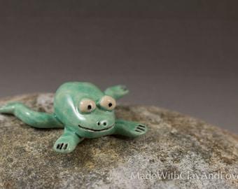 Little Frog - Hand Sculpted Miniature Terrarium Figurine Ceramic Animal