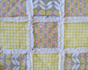 SALE Baby Toddler Lovey Stroller Rag Quilt with Minky Yellow Gray Grey  Gender Neutral Nursery Gift