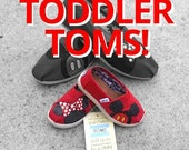 Custom Red TODDLERS Minnie & Mickey Mouse (OR Mickey Mickey/Minnie Minnie!) Shoes Toms or Vans
