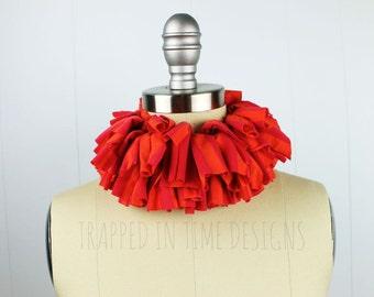 Pink and Orange Ruff, Tattered Collar, Tattered Ruff, Orange and Pink Neck Piece, Ruffle Collar