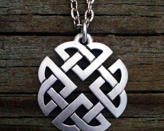 Small Open Celtic Knot Pewter Necklace