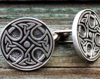 Celtic Cross Cufflinks | Celtic Knot Cufflinks | 1 Inch (25 mm) round | Fine Pewter | Hand made in Boise Idaho USA |
