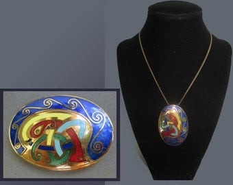 Book of KELLS-Traditional Irish Guilloche Enamel Pendant/Brooch,New Testament Gospels-Illuminated Manuscript,Vintage Jewelry,Women/Unisex