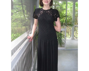 Vintage black Crepe Long with Lace Dress from BASIA DESIGNS Private Collection - Free U.S. Shipping