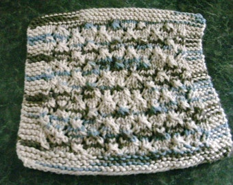 Hand Knit Cotton Dishcloth - measures approximately 8 x 8 inches