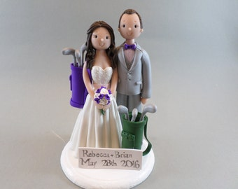Cake Toppers - Bride & Groom Customized Golf Theme Wedding Cake Topper