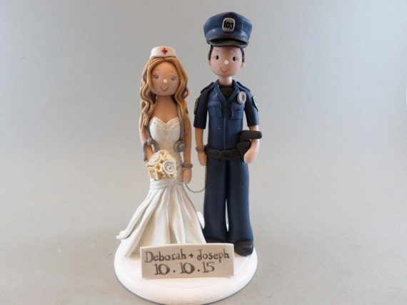 police officer and nurse wedding cake topper officer amp customized wedding cake topper by 18671