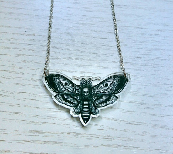 Death moth necklace, acrylic laser cut necklace, Great Christmas gift, silence of the lambs necklace, moth jewellery, stocking filler