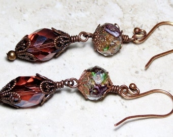 Purple Amethyst Crystal Lampwork Beaded Long Dangle Earrings, Vintage Inspired Earrings, Victorian Inspired Earrings, Unique Earrings