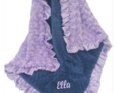 Light Purple Lavender and Navy Minky Blanket for Baby Girl, Lavender and Navy Minky Baby Blanket