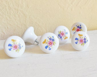 Vintage Porcelain Floral Knobs Handles Drawer Cupboard Pulls Matching - Set of 6 12 18
