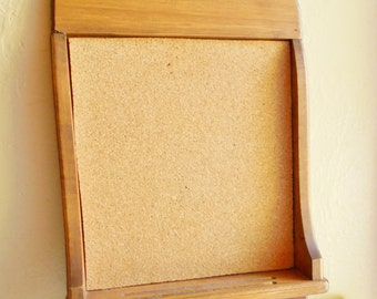 Wood Framed Farmhouse Bulletin Board with Tack Pin Holder Storage Rustic