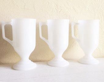 Trio of Vintage White Milk Glass Pedestal Mugs Coffee Cups