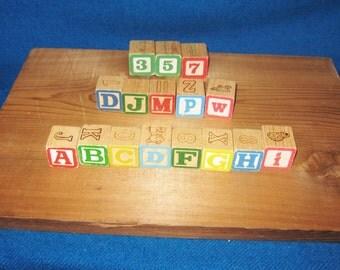 16 Vintage Childrens Wood Blocks