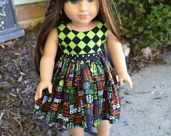 18 inch Doll Clothes - Trick or Treat Harlequin Colorblock Dress - HALLOWEEN - gray black orange red green - fits American Girl
