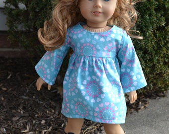 18 inch Doll Clothes - Heart Circles Swing Dress - AQUA PINK WHITE - fits American Girl
