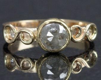 Rose Cut Diamond Ring - 14k Gold Raw Diamond Engagement Ring - Gray Diamond Ring