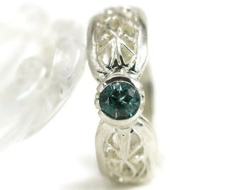 Blue Topaz Ring, Sterling Filigree Ring,  Birthstone Ring, Choose Your Stone