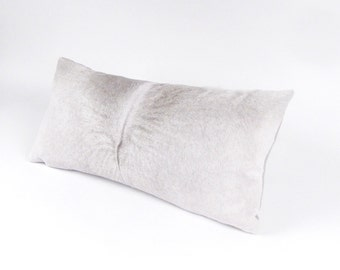 Gray Cowhide Pillow ~ Men's Pillow ~ Grey Accent Pillow ~ LEATHER Pillow ~ Gray Lumbar Pillow ~ Brazilian Leather ~ Leather Lumbar ~ Rustic