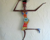 Metal Sculpture African Wall Art Recycled Metal Exotic Cocktail Lady Caribbean Wall Decor Island Art 16 x 23