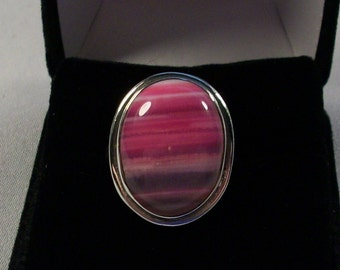 Beautifully Colored Pink Onyx and Silver Ring, Size 8.25