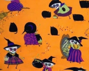 Alexander Henry Fabric Mona Makes Magic Novelty Fabric Halloween Fabric Holiday Fabric Witch Black Cats 2 Yards Cotton