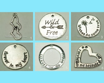 Set of 2 Charms for Expandable Bracelet. Inspired Bracelet, Love, WIld and Free and More.