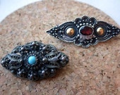 Lot of Two Sterling Oval Pins - Garnet and Turquoise  - Sterling Silver