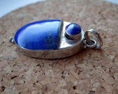 Lapis Lazuli and Sterling Silver Pendant - Modernistic