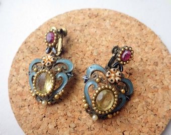 Stunning Costume Earrings - Art Nouveau Style - Citrine - Clip on.